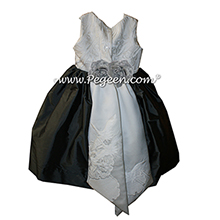 Pewter Gray and Wedding Kimono Silk flower girl dresses Style 383 by Pegeen