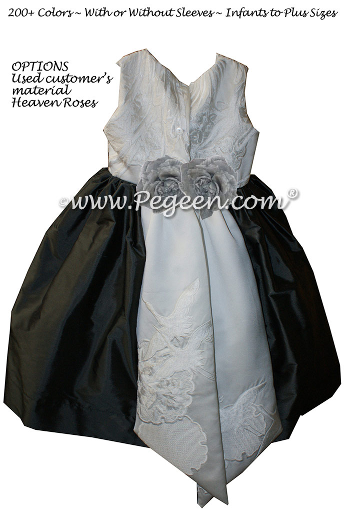 Flower girl dress Style 383Pewter Gray and Wedding Kimono | Pegeen