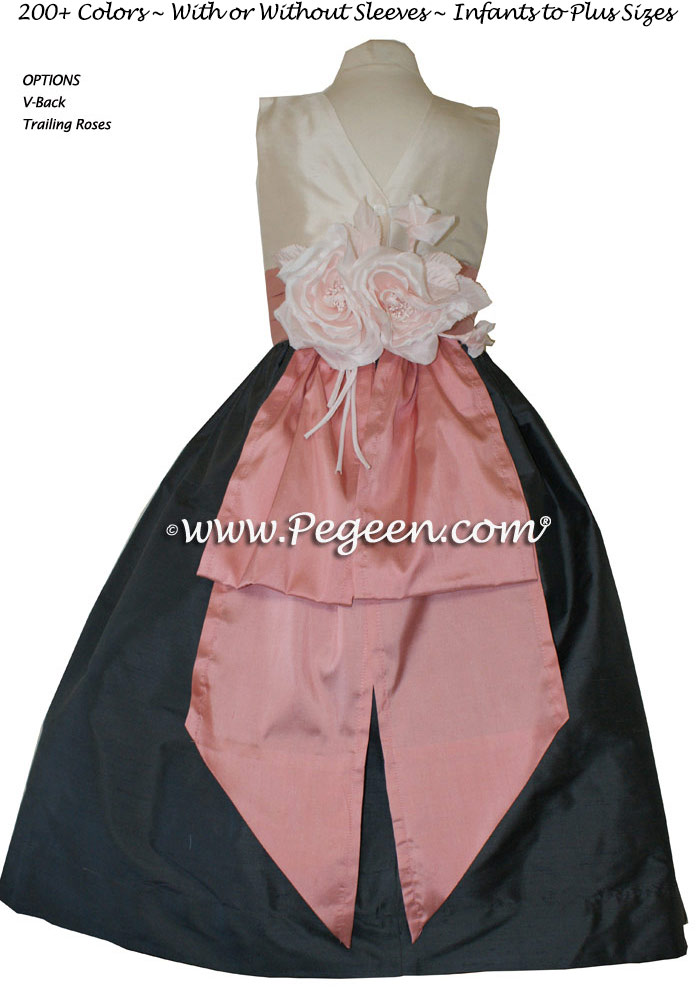 Pewter Gray, Bisque and Woodrose Pink silk flower girl dresses with back roses on bustle