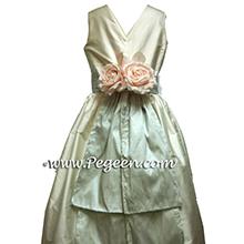Platinum and New Ivory silk Flower Girl Dresses