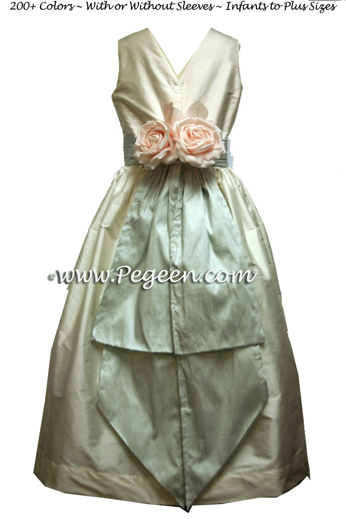 Platinum and New Ivory silk flower girl dresses Style 383