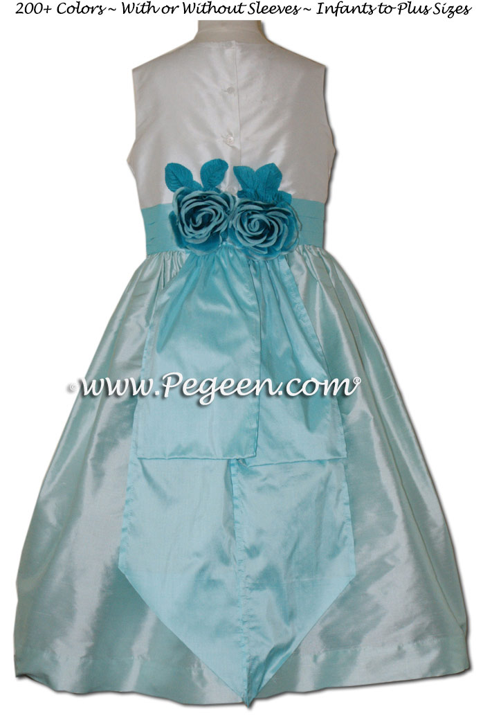 POND (LIGHT AQUA) AND BAY (TIFFANY BLUE)  SILK FLOWER GIRL DRESSES