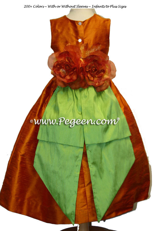 Pumpkin orange and apple green flower girl dresses with Orange Flowers Style 383