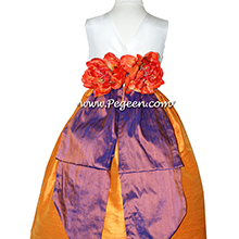 MANGO ORANGE, RAISIN AND Antique White CUSTOM FLOWER GIRL DRESSES