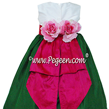 Emerald and Raspberry Pink Flower Girl Dresses - PEGEEN