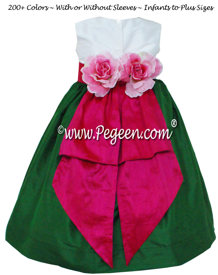 Emerald and Raspberry Pink flower girl dresses Style 383