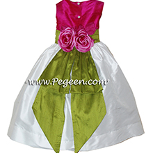 raspberry pink and grass green flower girl dresses