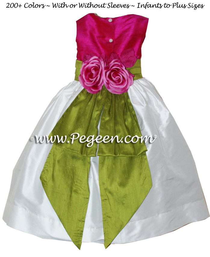 Raspberry pink and Grass green silk flower girl dresses - Style 383