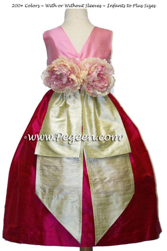 Raspberry Pink skirt, bubblegum top and spring green sash silk flower girl dress Style 383