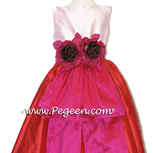 FUSCHIS, RED &  pink tulle flower girl dresses