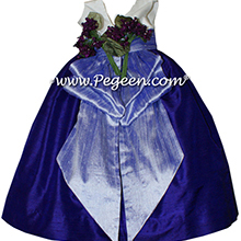 Royal Purple and Lilac Silk Flower Girl Dresses Style 383 from Pegeen with V Back and flowers