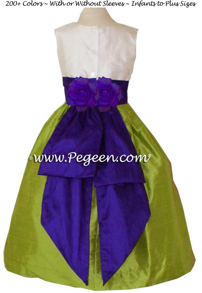 Flower Girl Dress Style 383 in Royal purple and apple green | Pegeen