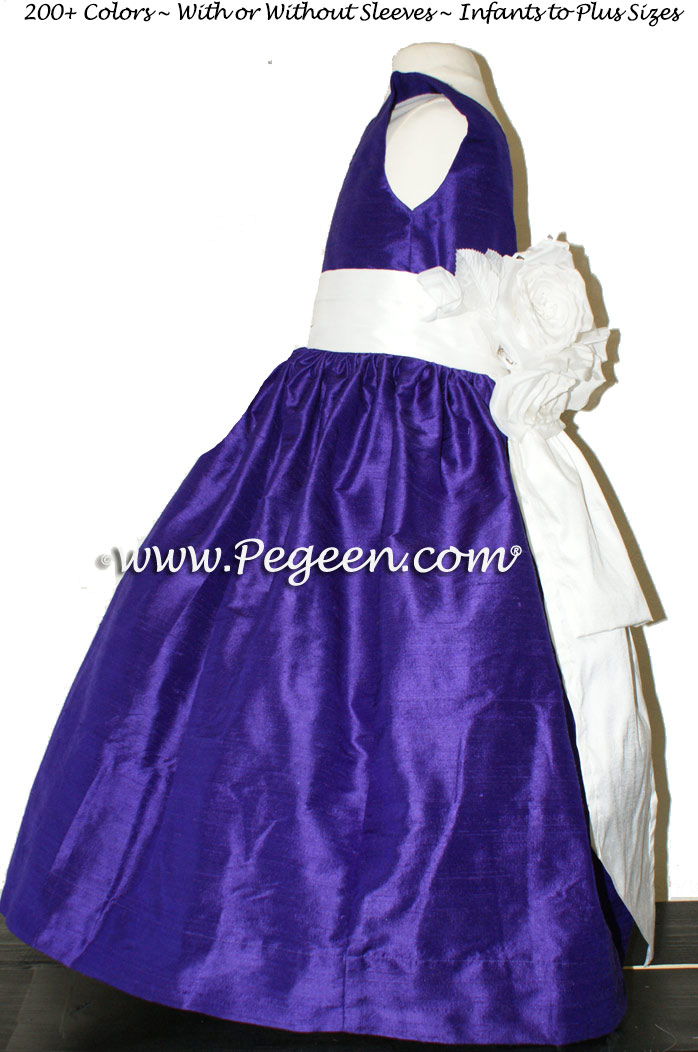 Royal purple and white silk flower girl dresses - Style 383