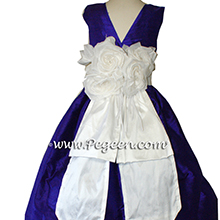 royal purple and white silk flower girl dresses