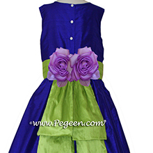 Royal purple and apple green flower girl or Jr Bridesmaids dresses Style 383