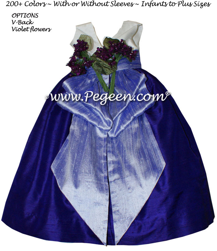 Royal purple and Lilac flower girl dresses by Pegeen