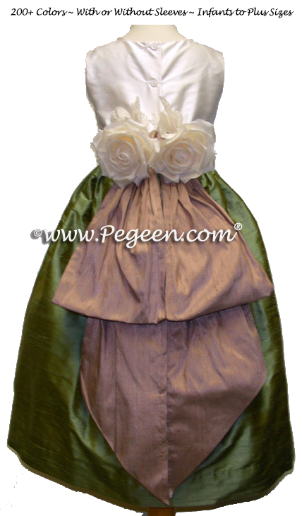Sage and Taupe flower girl dresses with bustle and flowers