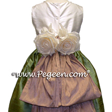 sage and taupe flower girl dresses
