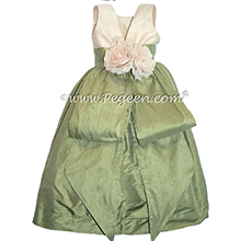 Sage and Bisque flower girl dresses style 383 by Pegeen