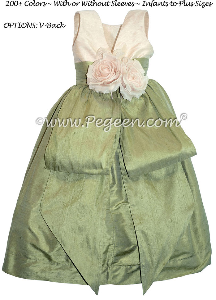 Sage and Bisque flower girl dresses with bustle and flowers