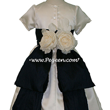 Ivory Satin and Navy flower girl dresses style 383 by Pegeen
