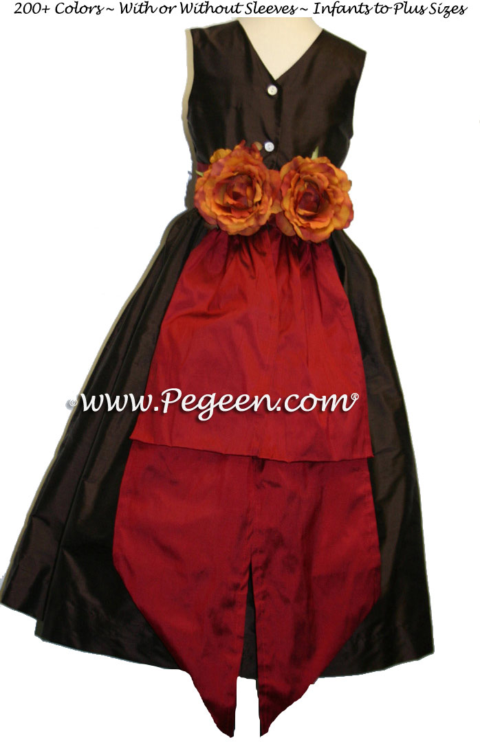 Semi-sweet brown and Mountain Fall orange flower girl dresses Style 383