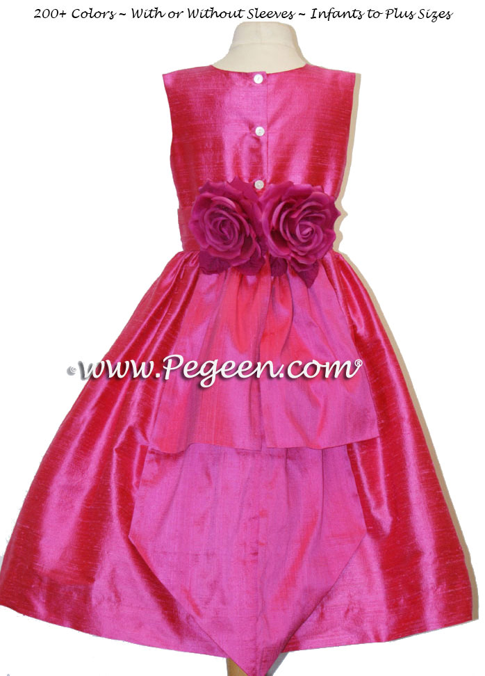 Flower Girl Dresses Lipstick - Hot Pink with Back Flowers Style 383