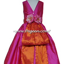 Shock (hot pink) and Mango (orange) silk flower girl dresses