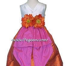 orange and hot pink silk flower girl dresses
