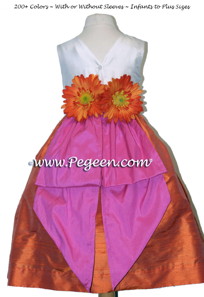 Flower Girl Dresses in Shock pink,Orange and New Ivory - Classic Style 383