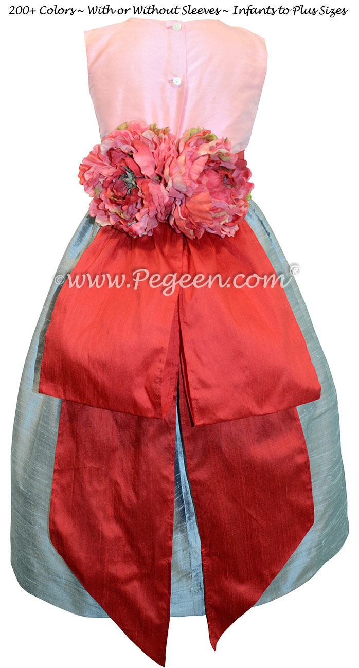 Bubblegum Pink and Silver Gray junior bridesmaid dress style 383 by Pegeen