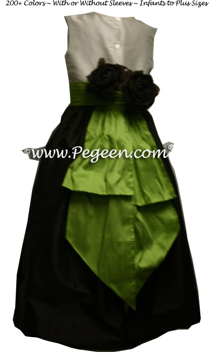 chocolate brown and apple green CUSTOM FLOWER GIRL DRESSES With Chocolate Roses