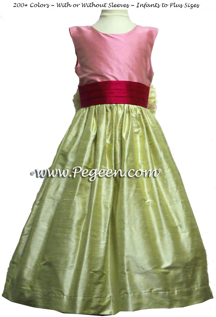 Summer Green, Bubble Gum and Raspberry Pink Silk Flower Girl Dresses with back flowers