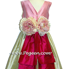 SUMMER GREEN, RASPBERRY AND BUBBLEGUM PINK AND Antique White SILK Flower Girl Dresses