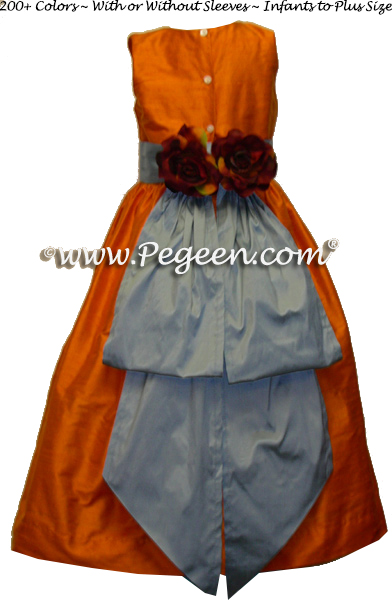 Tangerine and powder blue custom silk flower girl dresses Style 383