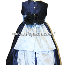 navy and denim blue flower girl dresses