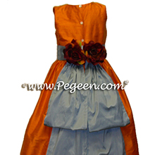 tangerine and powder blue flower girl dresses