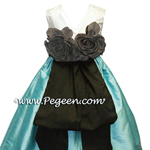 TIFFANY BLUE and BLACK Flower Girl Dresses