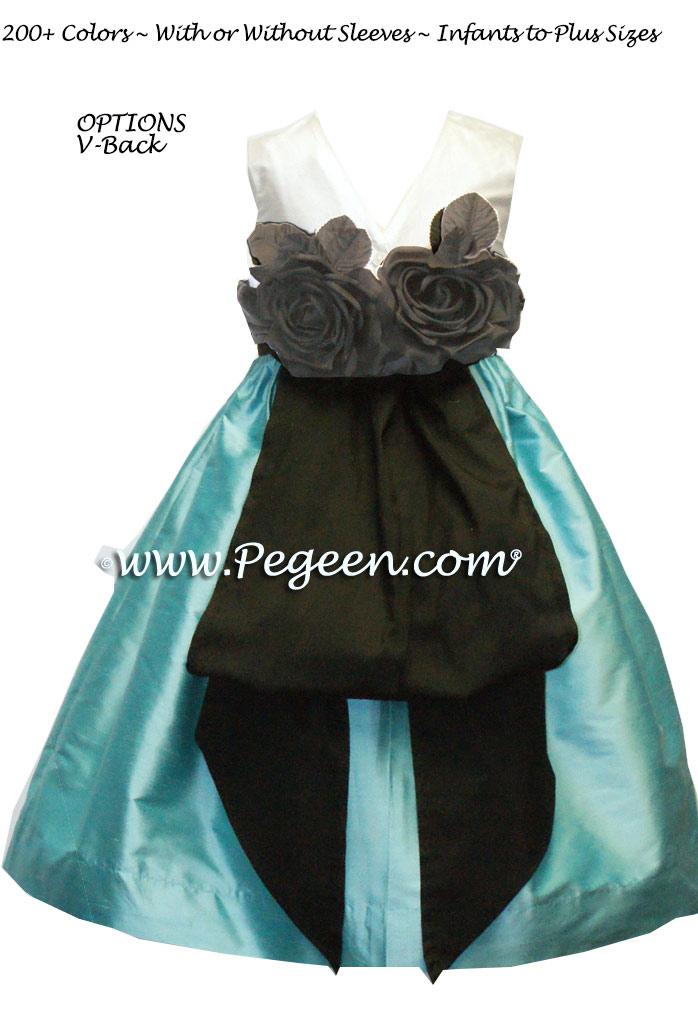 Tiffany Blue and Black silk custom flower girl dress with black handmade back roses