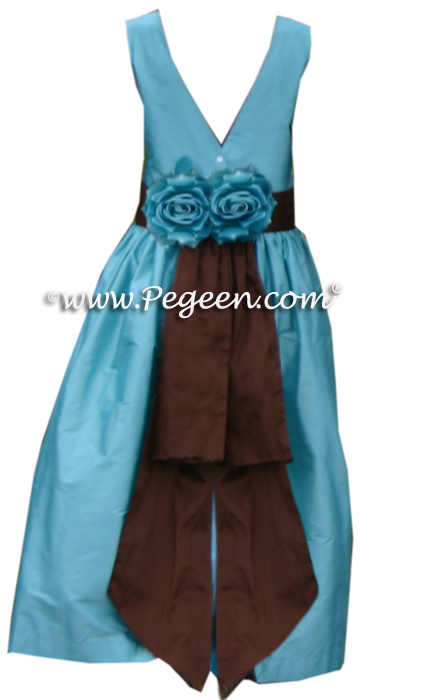 tiffany blue and chocolate brown FLOWER GIRL DRESSES