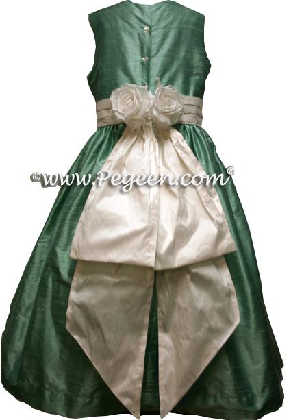 aqua and white silk FLOWER GIRL DRESSES