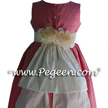 Watermelon Pink Silk Flower Girl dresses