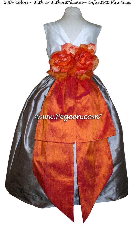Mango orange, Wolf grey and Antique White flower girl dresses Style 383