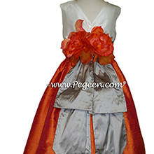 MANGO, WOLF GRAY AND NEW IVORY CUSTOM Flower Girl Dresses