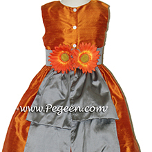 Orange and gray brown flower girl dress