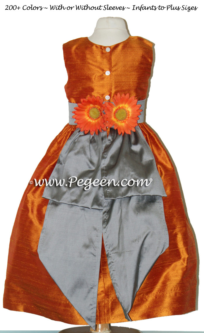 Pumpkin And Wolf Gray Silk Flower Girl Dresses With Back Flowers