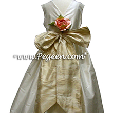 Gold Gingham Check flower girl dresses