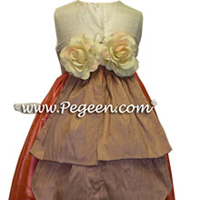 Flower Girl Dresses in taupe with back flowers