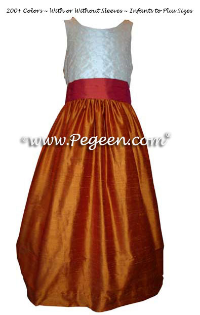 Pumpkin and Spice with Pearls Custom Silk Flower Girl Dresses Style 370