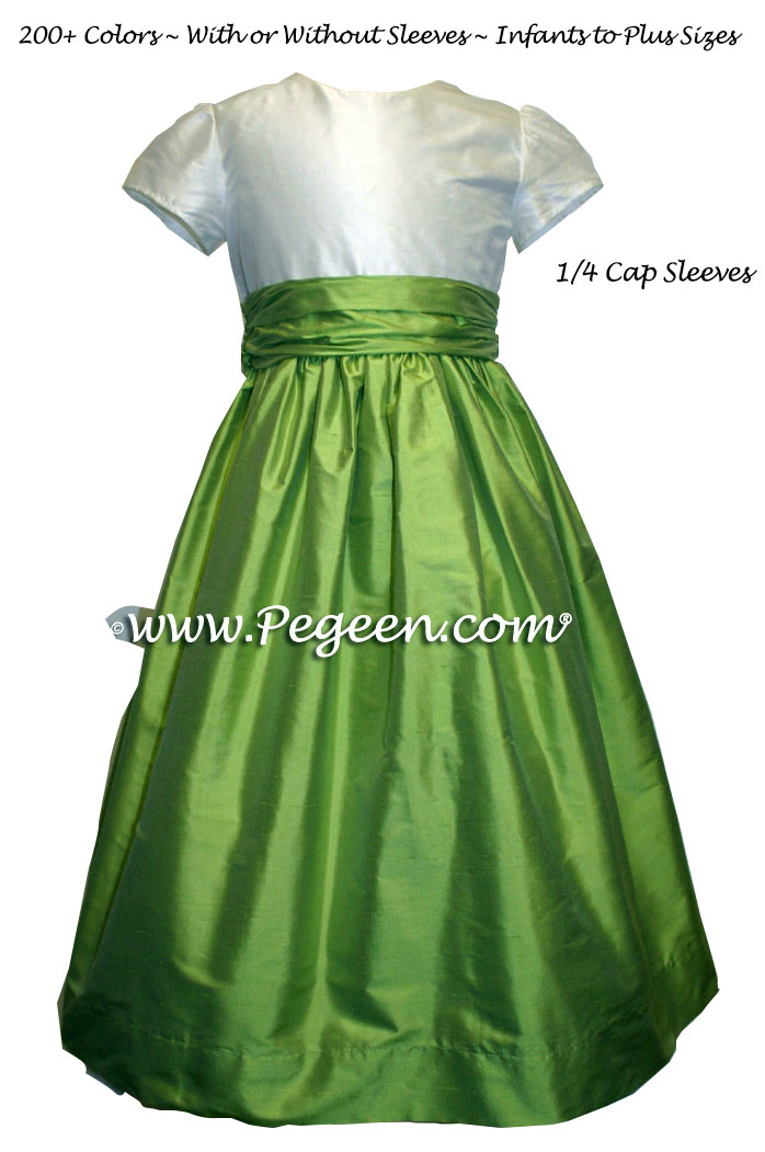 Sprite Green and Ivory Silk Flower Girl Dress With Small Cap Sleeves Style 388